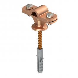 Leitungshalter Rd 8-10 mm mit Holzschraube, Kunststoffdübel