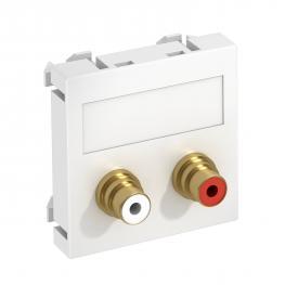 Audio-Cinch Anschluss, 1 Modul, Auslass gerade, als Lötanschluss, reinweiß